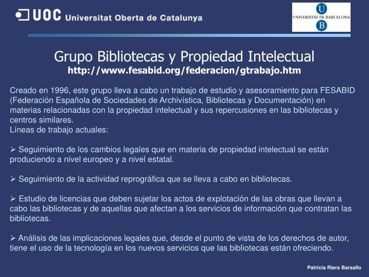 Grupo Bibliotecas y Propiedad Intelectual