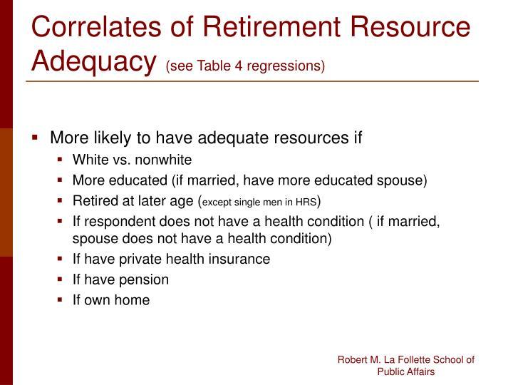 Correlates of Retirement Resource Adequacy