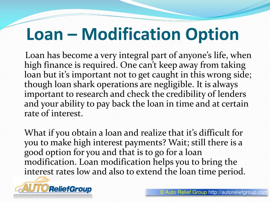 Loan – Modification Option