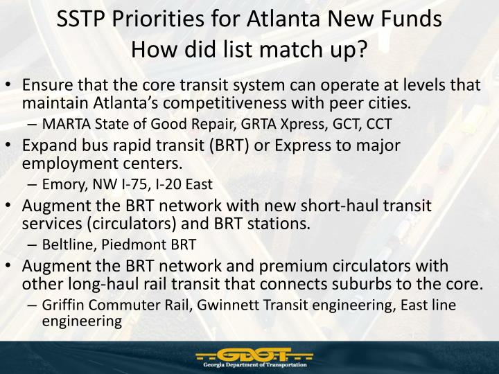 SSTP Priorities for Atlanta New Funds