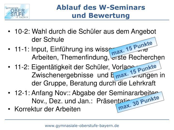 Ablauf des W-Seminars