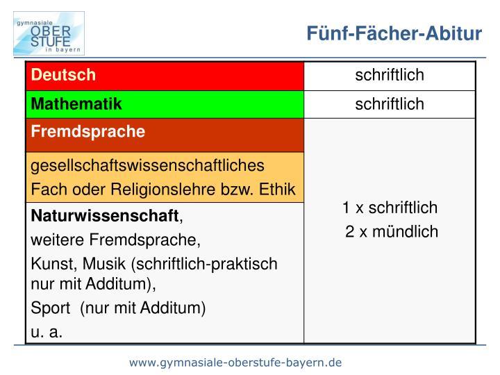 Fünf-Fächer-Abitur