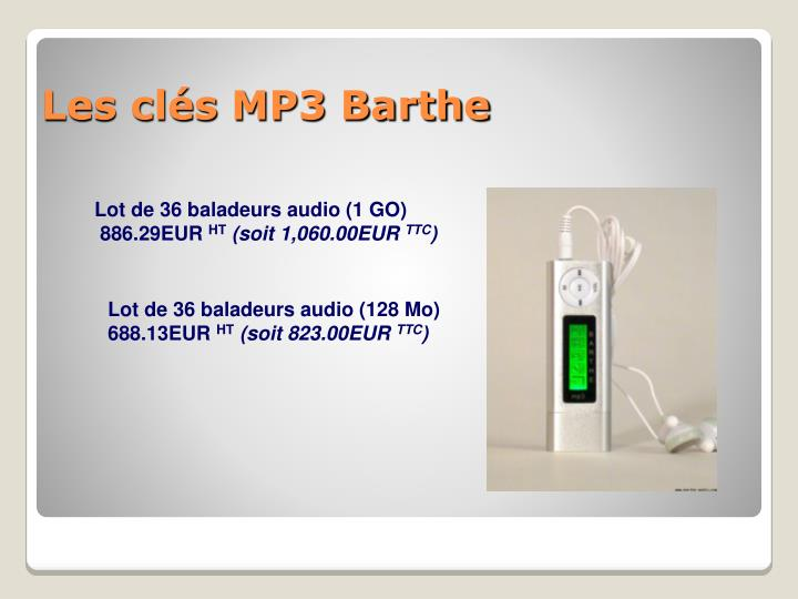 Lot de 36 baladeurs audio (1 GO)