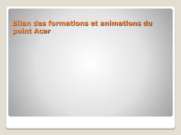 Bilan des formations et animations du point Acar