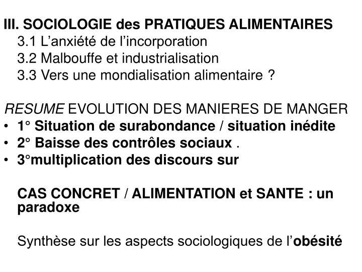 III. SOCIOLOGIE des PRATIQUES ALIMENTAIRES