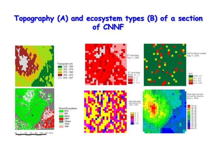 Topography (A) and ecosystem types (B) of a section of CNNF