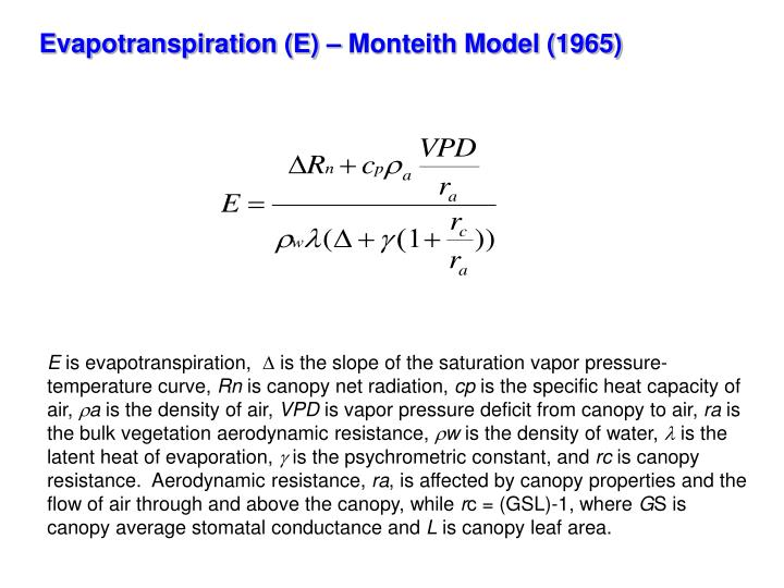 Evapotranspiration (E) – Monteith Model (1965)