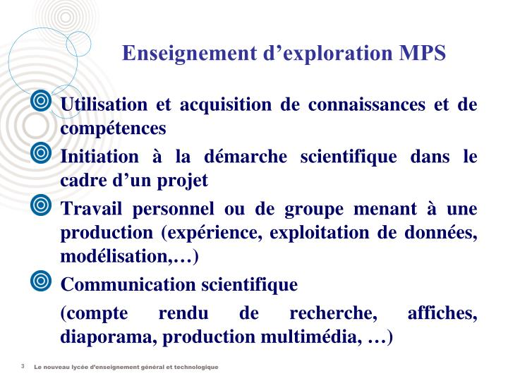 Enseignement d exploration mps