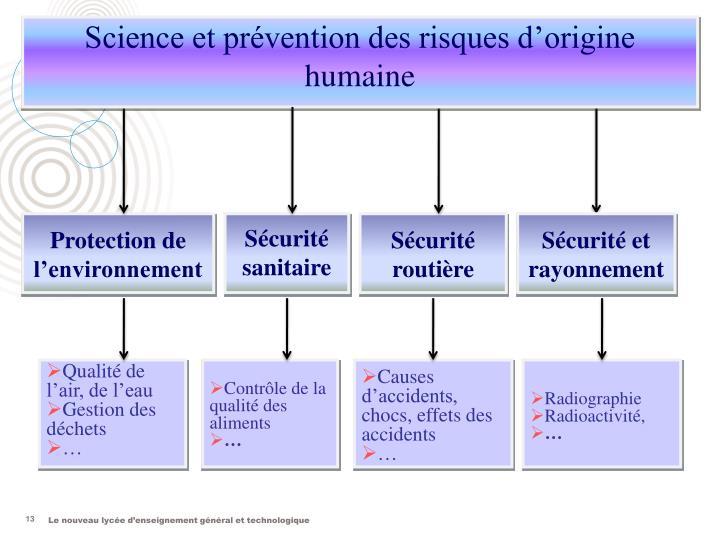 Science et prévention des risques d'origine humaine