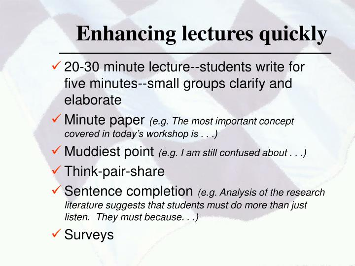 Enhancing lectures quickly