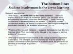 the bottom line student involvement is the key to learning