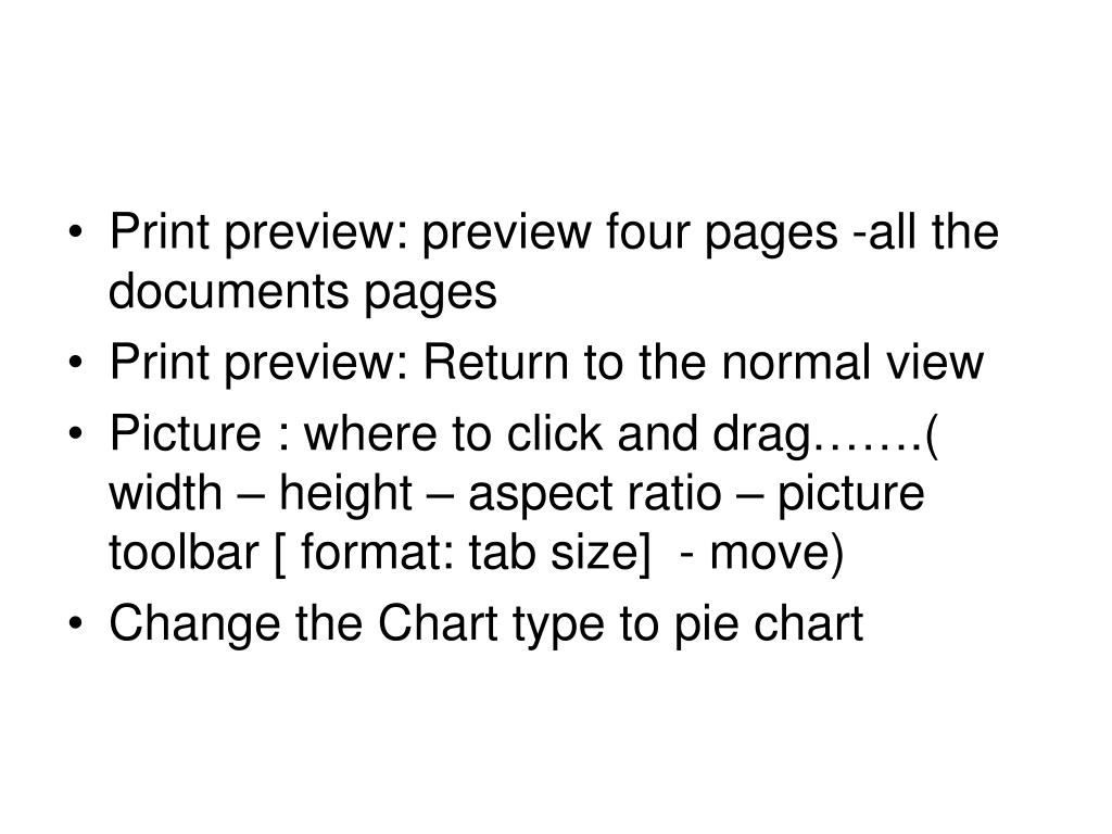Print preview: preview four pages -all the documents pages