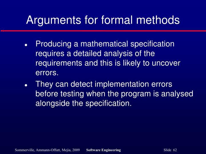 Arguments for formal methods