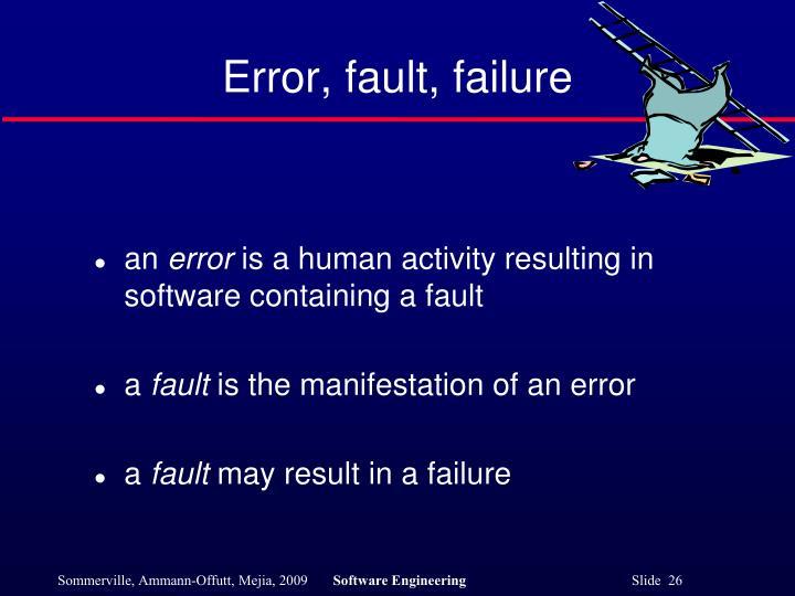 Error, fault, failure