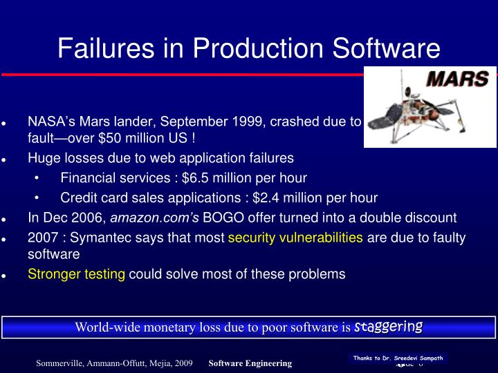 Failures in Production Software