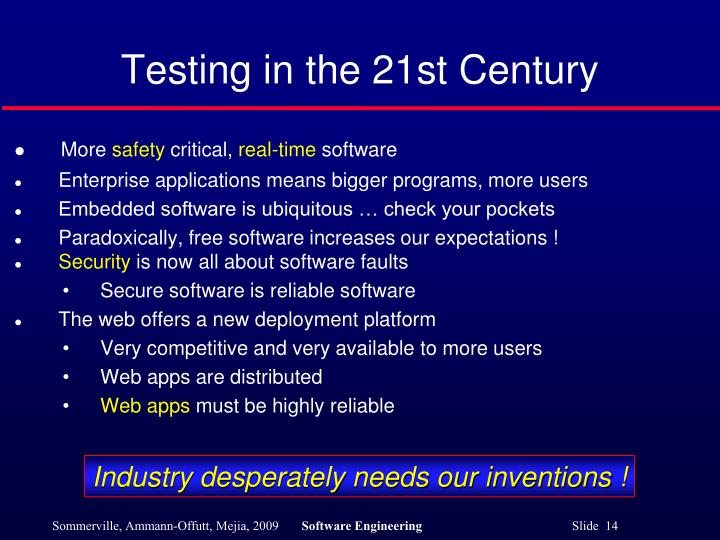 Testing in the 21st Century