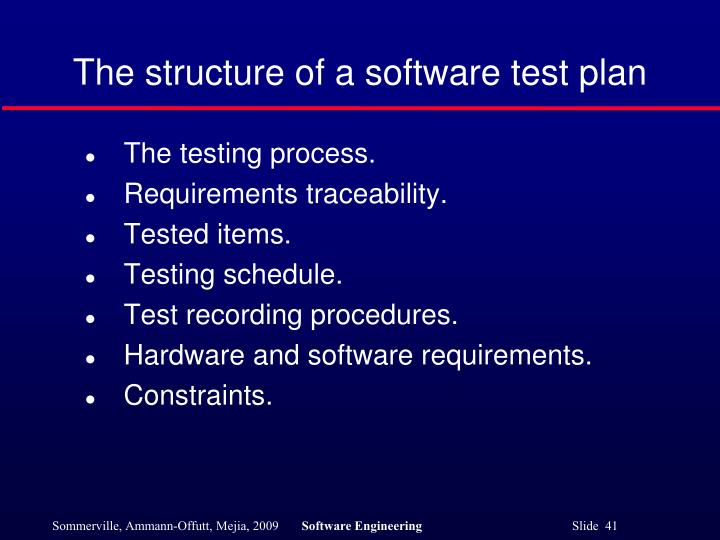 The structure of a software test plan