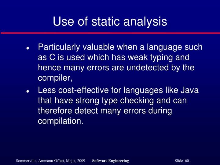 Use of static analysis