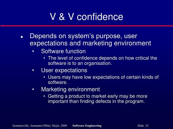 V & V confidence