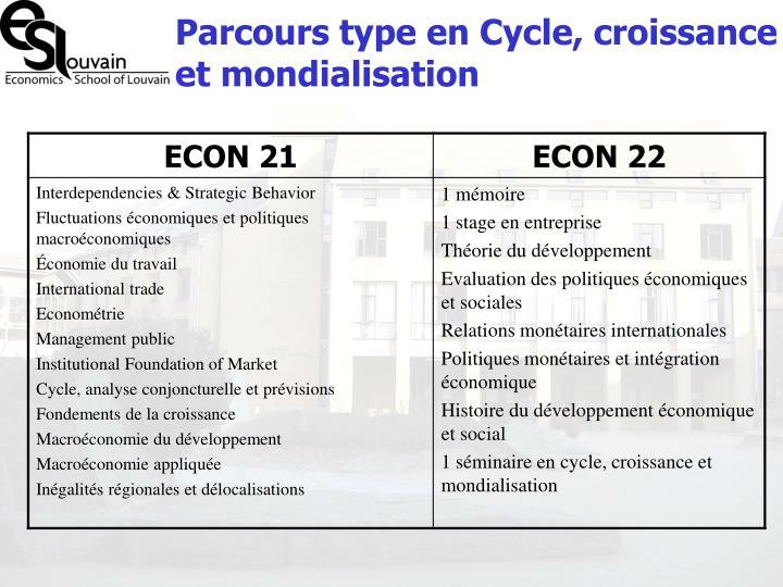 Parcours type en Cycle, croissance et mondialisation