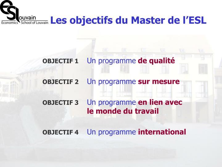 Les objectifs du Master de l'ESL