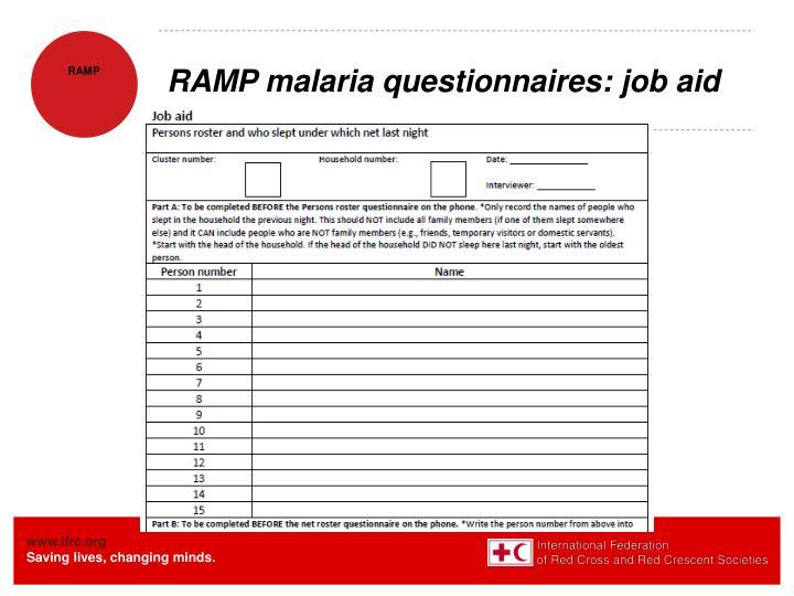 RAMP malaria questionnaires: job aid