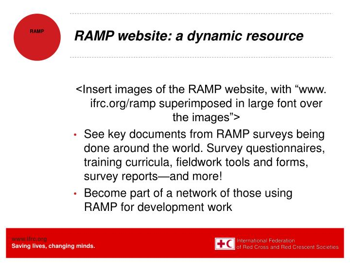 RAMP website: a dynamic resource
