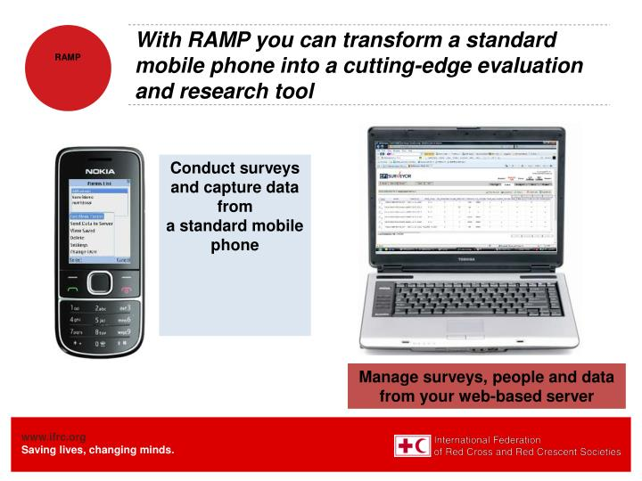 With RAMP you can transform a standard mobile phone into a cutting-edge evaluation and research tool
