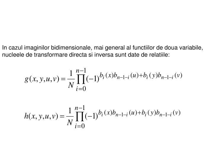 In cazul imaginilor bidimensionale, mai general al functiilor de doua variabile, nucleele de transformare directa si inversa sunt date de relatiile:
