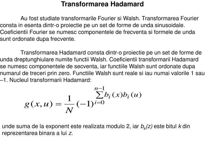 Transformarea Hadamard