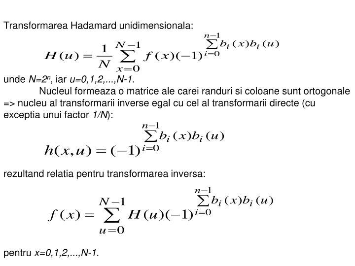 Transformarea Hadamard unidimensionala: