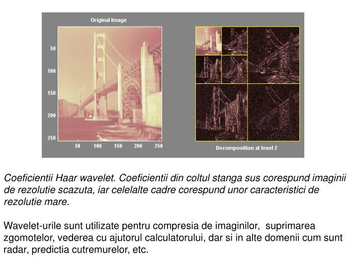Coeficientii Haar wavelet. Coeficientii din coltul stanga sus corespund imaginii de rezolutie scazuta, iar celelalte cadre corespund unor caracteristici de rezolutie mare.