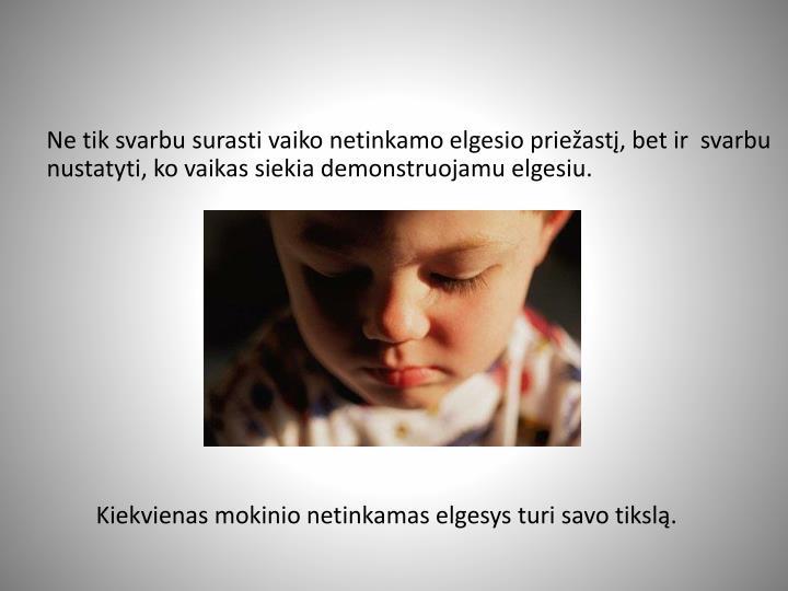 Ne tik svarbu surasti vaiko netinkamo elgesio priežastį, bet ir  svarbu nustatyti, ko vaikas siekia demonstruojamu elgesiu.
