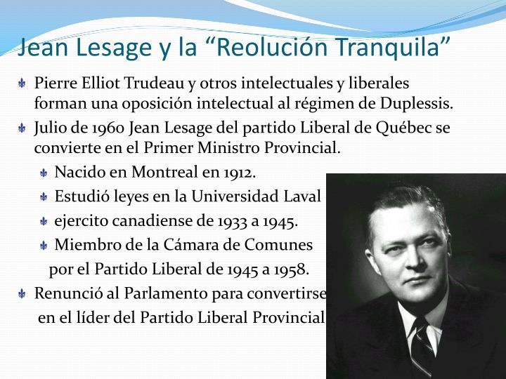 """Jean Lesage y la """"Reolución Tranquila"""""""