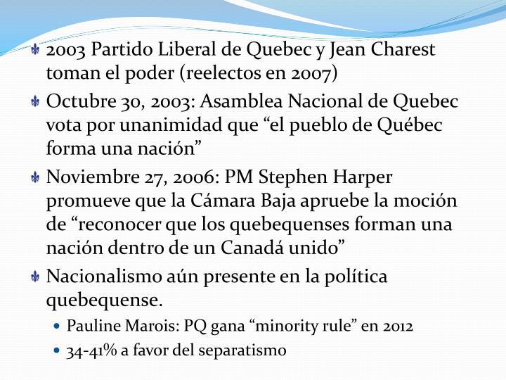 2003 Partido Liberal de Quebec y Jean