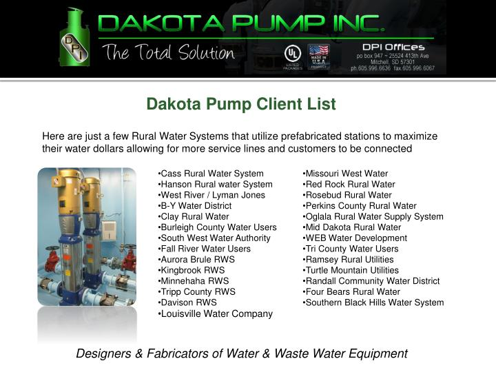 Dakota Pump Client List