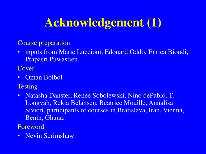 Acknowledgement (1)