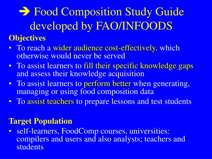  Food Composition Study Guide developed by FAO/INFOODS