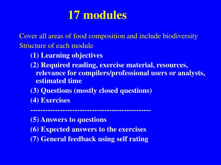 17 modules