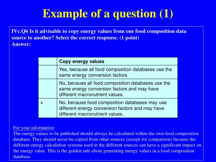 Example of a question (1)
