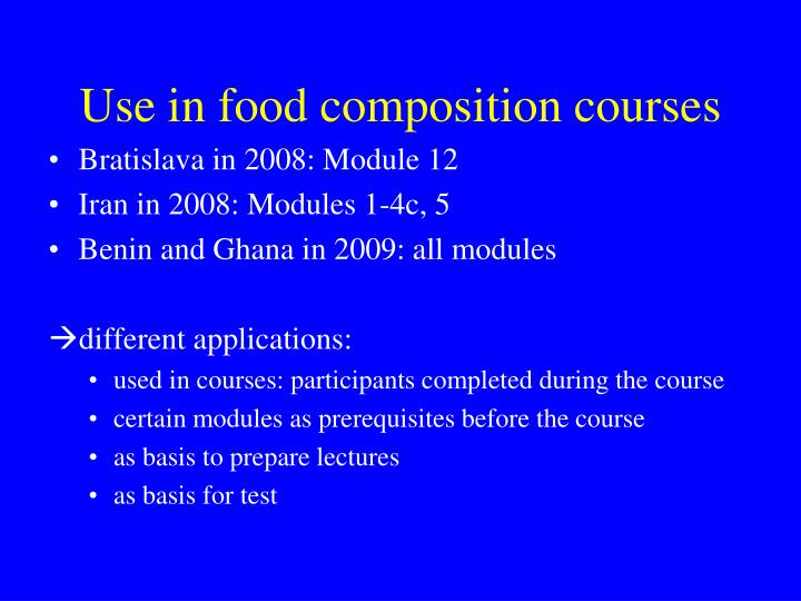 Use in food composition courses