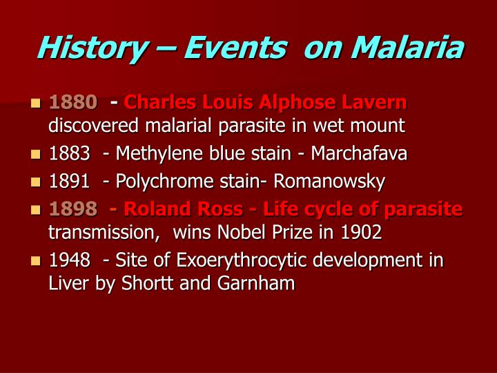 History – Events  on Malaria