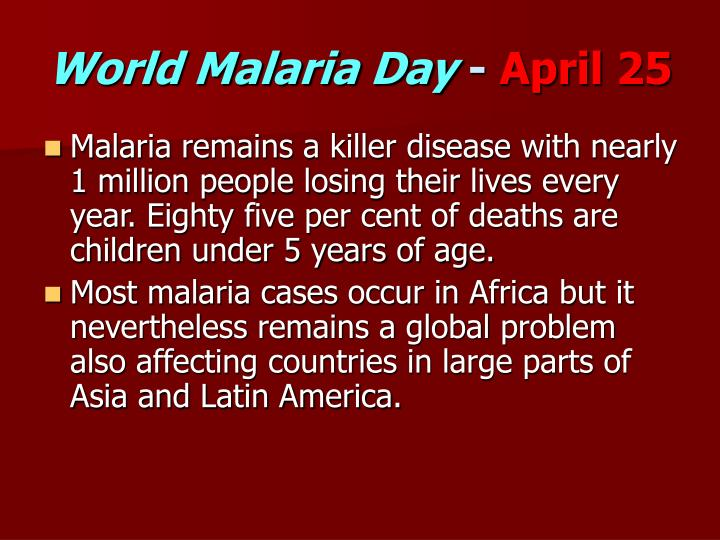 World malaria day april 25