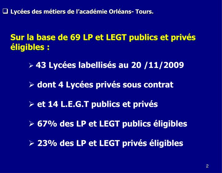 Lycées des métiers de l'académie Orléans- Tours.
