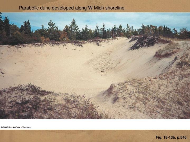 Parabolic dune developed along W Mich shoreline