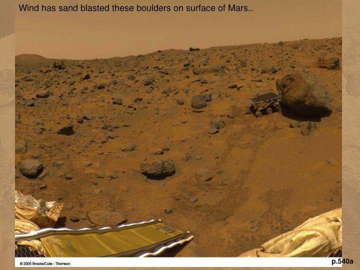Wind has sand blasted these boulders on surface of Mars..