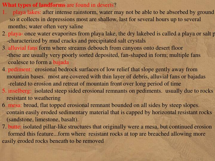 What types of landforms
