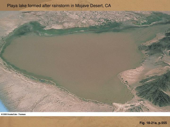 Playa lake formed after rainstorm in Mojave Desert, CA