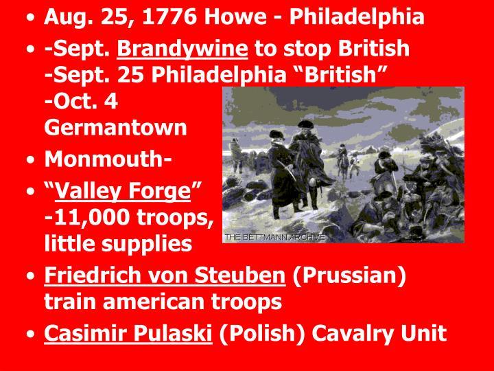 Aug. 25, 1776 Howe - Philadelphia