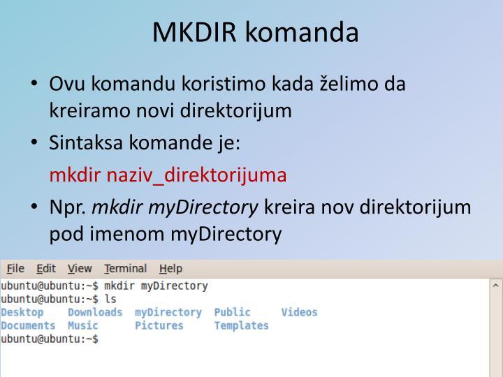 MKDIR komanda